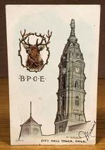 BOE Elks City Hall Tower Philadelphia PA Antique Vintage Postcard PC Fra... - $10.00
