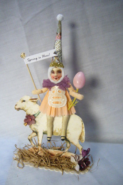 Vintage Inspired Spun Cotton Easter Lamb Rider 182A