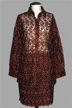 VTG Heavily Beaded Crocheted Floral Copper Brown Sheer Top & Skirt Wms M... - $169.99
