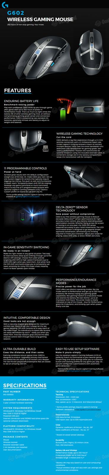 Logitech Logitech G602 Wireless Gaming Mouse / Delta Zero Sensor / 11 Buttons /