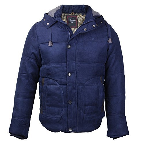 Maximos Men's Multi Pocket Modern Floral Cotton Hooded Jacket (Large, Navy Blue)