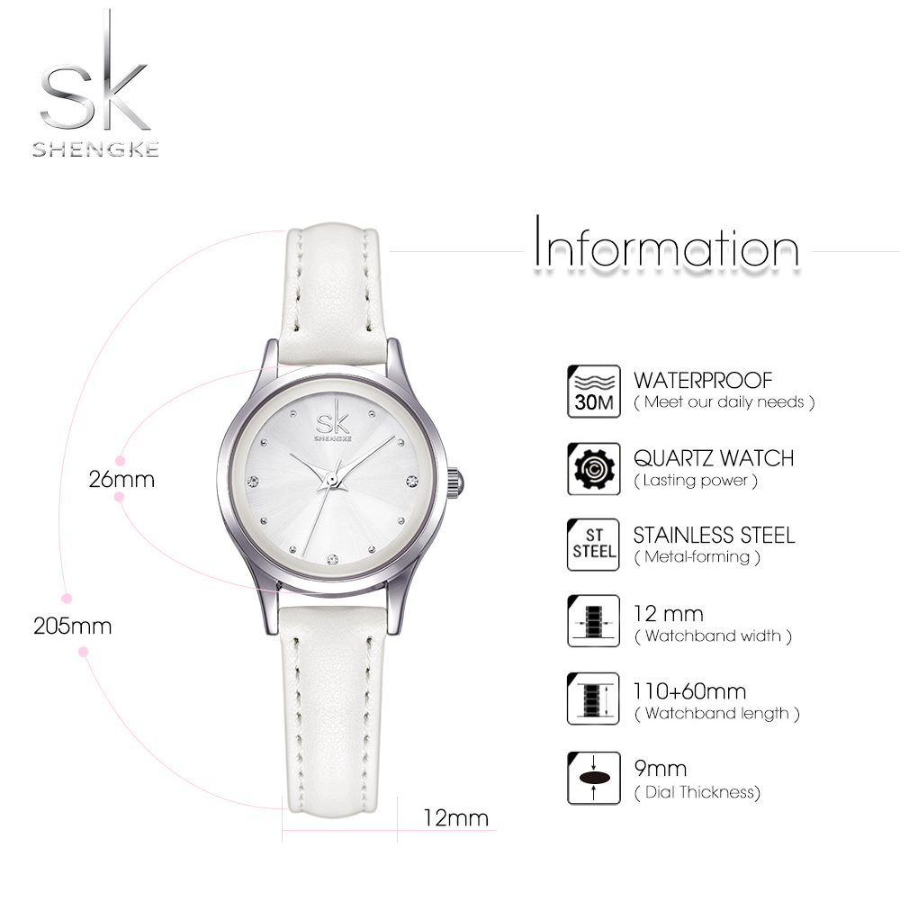 SK® Casual Leather Band Stainless Steel Shell Watch Rhinestones Quartz Watches