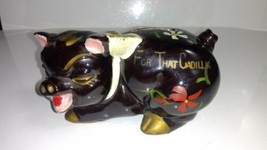 "Vintage Japanese Redware Fred Roberts ""For that Cadillac"" Pig Piggy Coin... - $9.41"