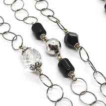 Silver necklace 925, Onyx Black, Length 160 CM, Chain Rolo, Circles image 3