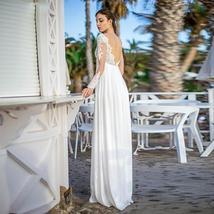 Dress Long Sleeve Sweetheart Appliques Lace Backless Chiffon Maternity Wedding G image 3