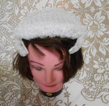Vintage White Caplet Juliet Coated Plastic Woven Hat - $15.10
