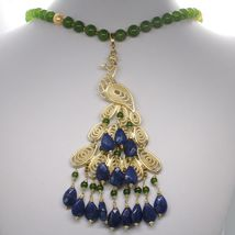 GREEN JADE, KYANITE 925 STERLING SILVER LONG NECKLACE AND BIG PEACOCK PENDANT image 4