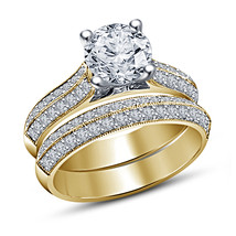 Diamond Wedding Womens Bridal Ring Set 14k Yellow Gold Finish 925 Solid ... - $94.99