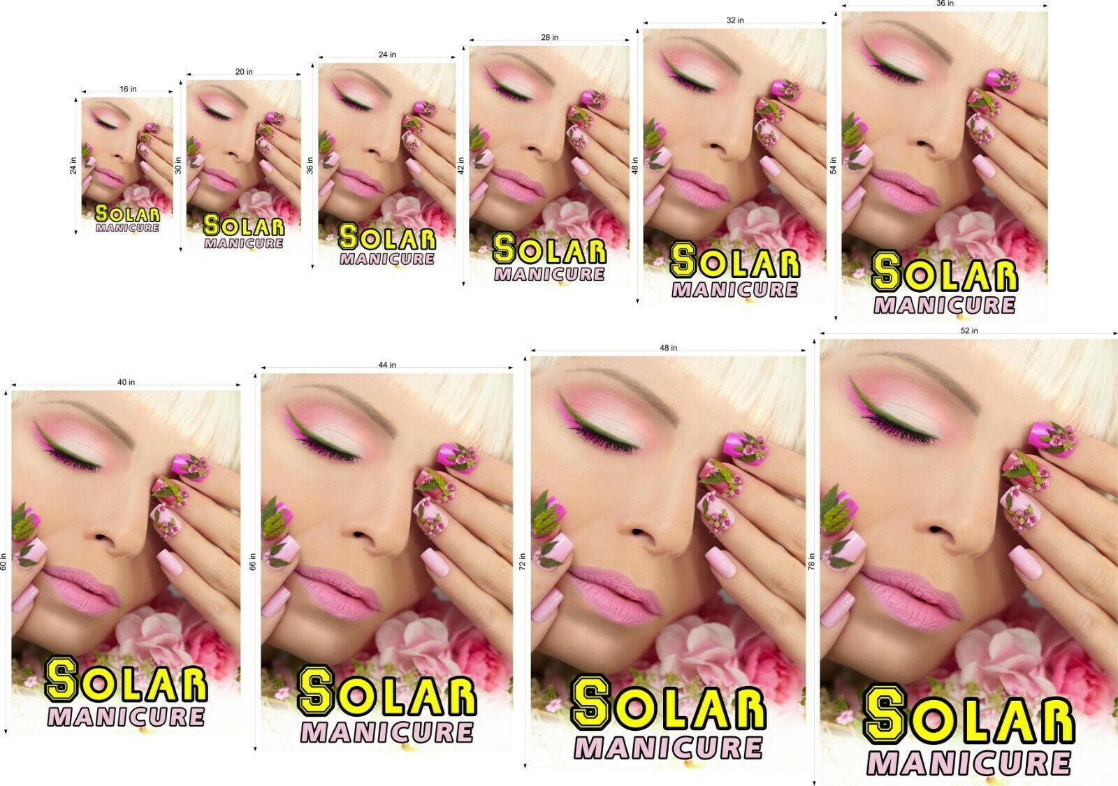 Solar V Perforated 70/30 See Through Window Poster Manicure Nail Salon Vertical