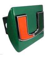 UNIVERSITY OF MIAMI U EMBLEM ON GREEN METAL USA MADE TRAILER HITCH COVER - $72.19