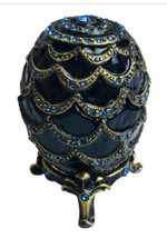 Egg Jeweled Trinket Box Blue Enamel Swarovski Crystals Pewter Magnet Clo... - $32.67