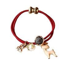 Set of 4 Beads Diamond Flower Deer Hair Rope Ponytail Holders, Wine Red