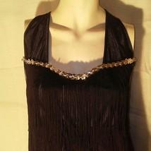 Womens Black Fringe Dress Flapper Style Large - $24.75
