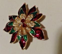 Vintage W Lind Flower Brooch Enameled Metal, Rhinestones- Signed-1960's  - $34.65