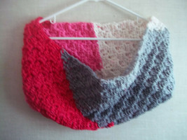 Hand Crocheted Red, White, Pink and Gray Infinity Scarf Cowl - $14.85