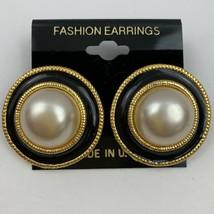 Vintage Big Round Black Enamel Faux Pearl Pierced Earrings Gold Tone 80s... - $11.10