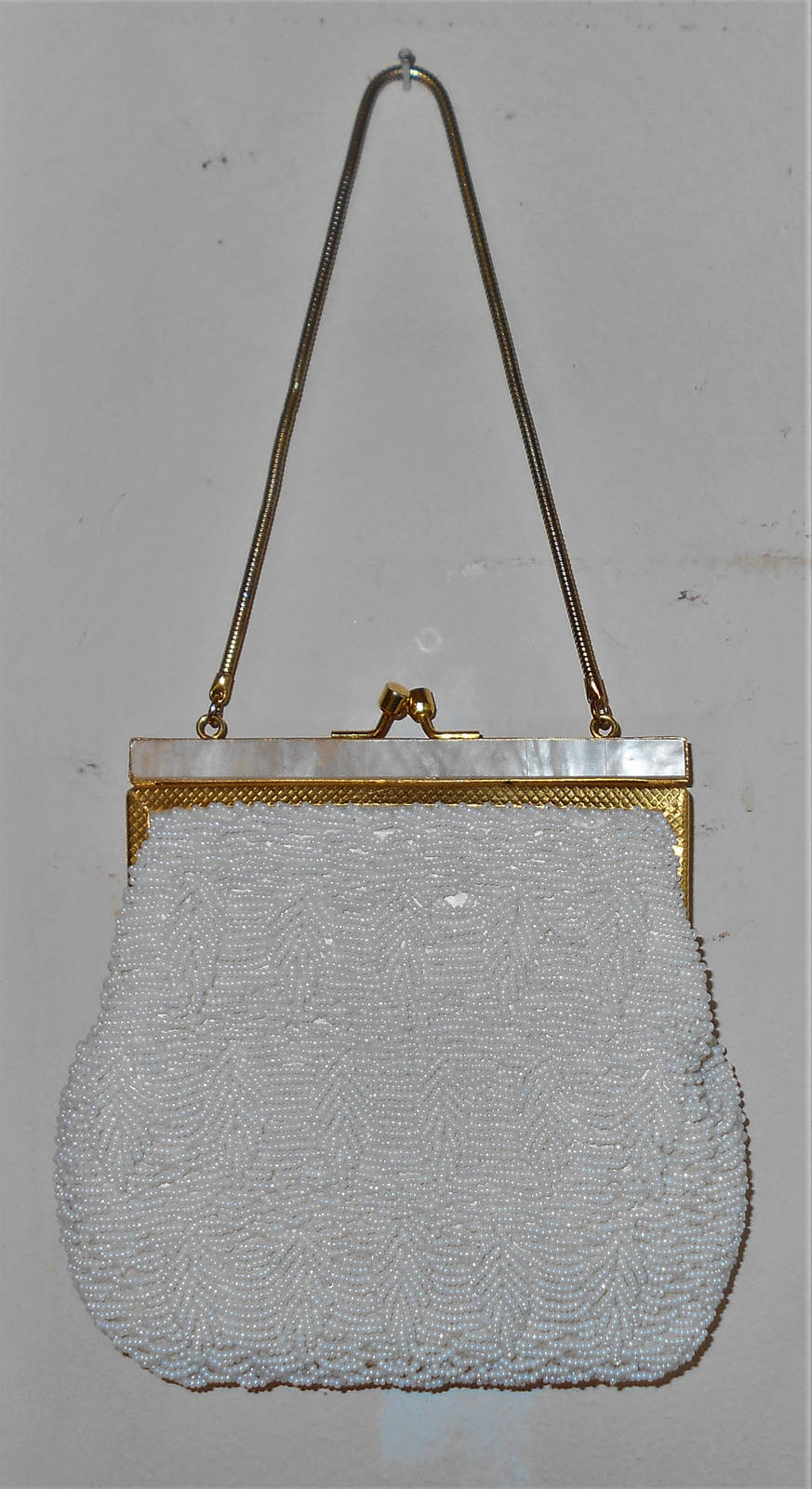 Walborg pearl glass beaded evening bag with MOP shell closure bands 1950s