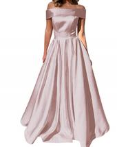 Off Shoulder Satin Evening Party Gown A Line Prom Bridesmaid Dress Ball ... - $116.99