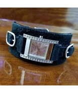 Womens GUESS Crystal Accented Wide Leather Cuff Band Moto Style Watch - $69.95