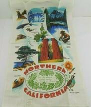 Vintage Kay Dee Linen Tea Towel Northern California Places Animals Wine ... - $24.74