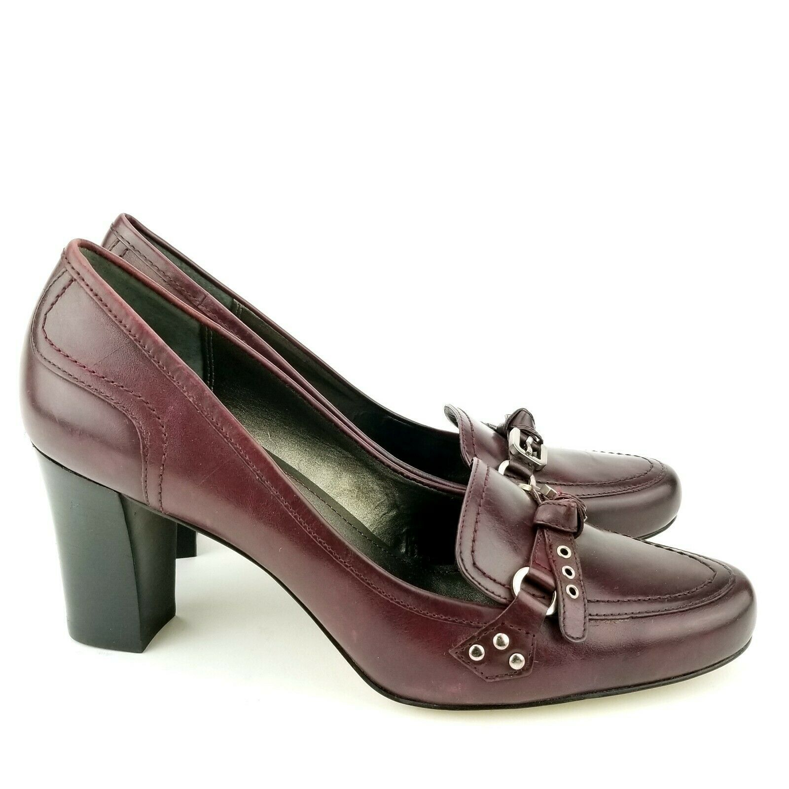 Franco Sarto Burgundy Women's Leather Pump Size 10 M Dickens