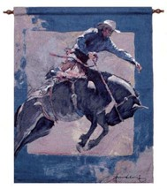 """Simply Home Cowboy Riding Bucking Bronco Blue Wall Hanging Tapestry 26""""x36"""" - $44.29"""