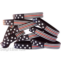 10 Thin Red Line American Flag Wristband Bracelets - USA Flag Fire Fighter Bands - $13.74