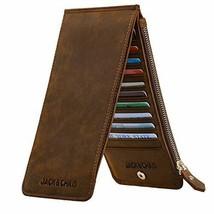 Jack&Chris Leather Multi Card Organizer Wallet Credit Holder Dark Brown - $34.56