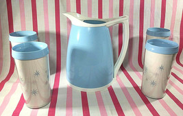 FABulous Vintage Atomic Starburst Pitcher + 4 Plastic Thermo Hot/Cold Tu... - $42.00