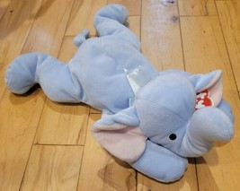 Ty Pillow Pal Plush Toy Elephant SQUIRT Baby Blue 14 Inch Soft Stuffed 1... - $14.50