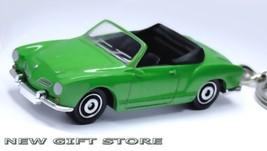 CUSTOM KEY CHAIN GREEN & BLACK VW VOLKSWAGEN KARMANN GHIA CABRIOLET CONV... - $24.94