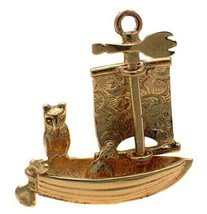 9k Gold Owl and Pussy Cat Go to Sea Boat Charm, Moving Sail. Handmade by... - $205.80
