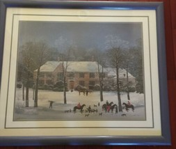 "Vintage Large Framed Matted 37""x 31"" Michel Delacroix Print La Chasse d'Hiver image 1"
