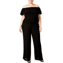INC Womens Black Off The Shoulder Lace Inset Jumpsuit Plus Size 1X  - $25.73