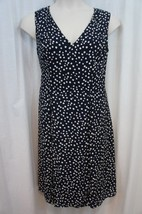 Anne Klein Dress Sz 16 Midnight Camellia Sleeveless Dot Business Cocktai... - $64.90