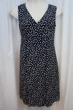 Anne Klein Dress Sz 16 Midnight Camellia Sleeveless Dot Business Cocktai... - $64.90