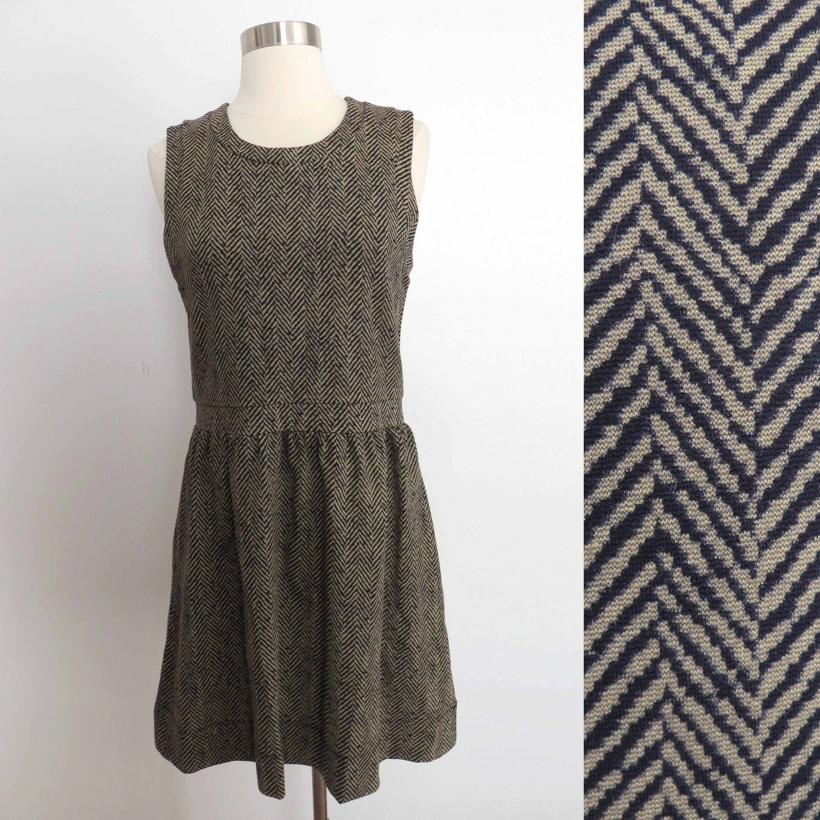 Primary image for NWT J. Crew size SMALL taupe beige stripe print sleeveless dress career cocktail