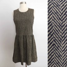 NWT J. Crew size SMALL taupe beige stripe print sleeveless dress career ... - £39.24 GBP
