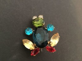 Vtg Colorful Rhinestone Frog Pin Unmarked - $11.83