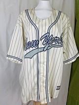New York MLB Vintage 90s Script Jersey Blue White Pinstripe Size XXL - $18.00