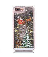 Case for iphone 7 Plus,[Liquid Glitter] Christmas Santa Claus Shiny Flow... - $8.90