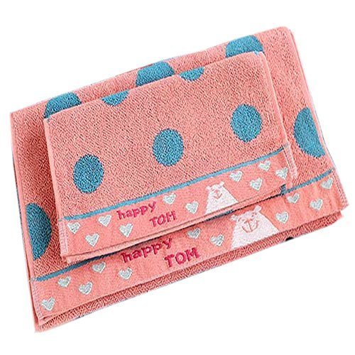 Set of 2 Simple Polka-Dot Soft Cotton Baby Washcloths Comfy Facecloths,Melon Red
