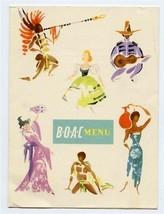 BOAC First Class Menu and Bar Tariff Asia Service Colorful Native Dress ... - $37.72