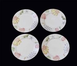 4 Pastel Colors Decal Seashells Starfish White Background Heavy Salad Pl... - $21.99