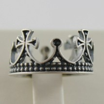 Silver Ring 925 Burnished to Crown Medieval Vintage Style Made in Italy image 2
