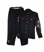 Bob Mackie Wearable Art S Sm Black Embroider Flower Purple Stitch Button... - $83.20