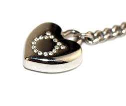 Authentic Ferragamo Crystal Ganchini Logo On Silver Heart Metal Cell Pho... - $75.08
