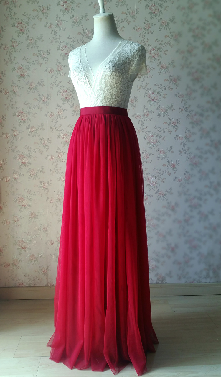 Red tulle maxi bridesmaid wedding skirt 38 750 10