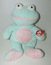 Ty Pluffies GRINS Frog Plush Green Pink Froggy Stuffed Animal 2002 Tylux... - $8.90