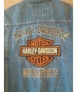 Harley Davidson Motorcycle Jean Denim Vest Big Back Stitched Logo Size X... - $197.95